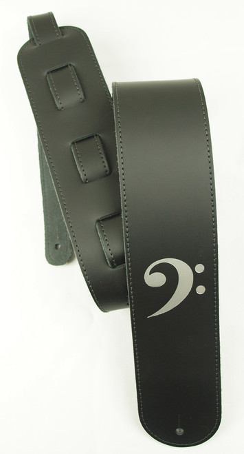 LM Bass Clef Leather Guitar Strap
