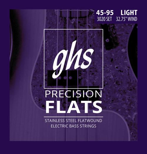 GHS Precision Flats Bass Guitar Strings - Short Scale 45-95