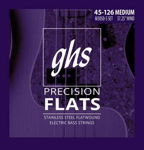 GHS Precision Flats Bass Guitar Strings 5-String 45-126