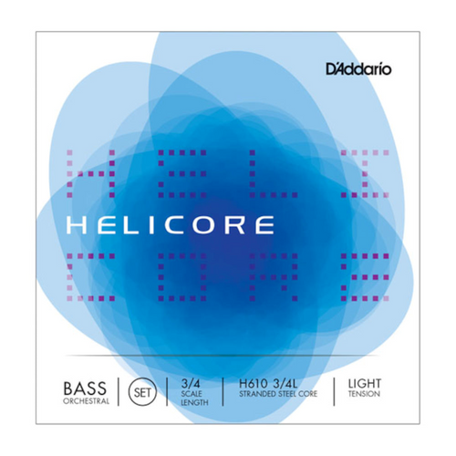 Helicore Orchestral Bass String Set, 3/4 Scale, Light Tension