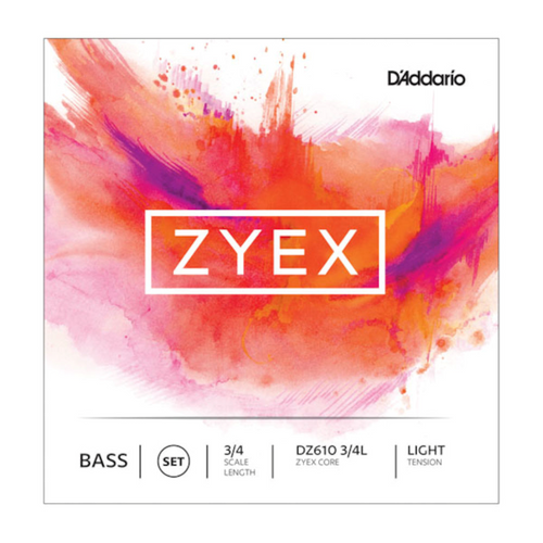 D'Addario Zyex Bass String Set, 3/4 Scale, Light Tension
