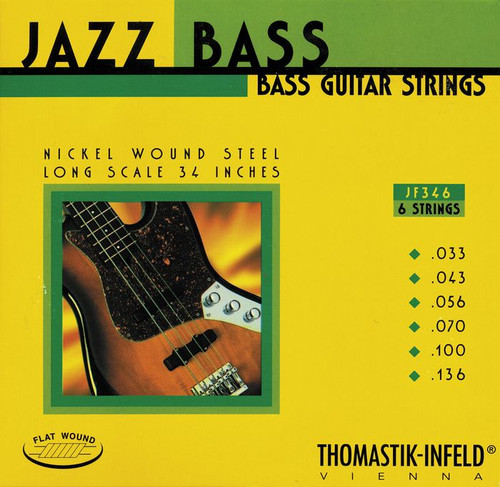 Thomastik Infeld Flatwound Nickel Jazz Bass Strings - 6-String 33-136 (JF346)