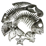Haiti Double Fish Bones with Shells Oil Drum Wall Hanging - 22 inch