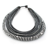 Africa Zulu Black/White Beaded and Recycled Collar Necklace
