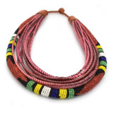 Africa Zulu Red with Multi-Colors Beaded and Recycled Collar Necklace