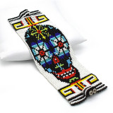 Mexico and Central America Black Sugar Skull Multi-Colored Beaded Bracelet