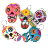 Mexico and Central America Turquoise Embroidered Sugar Skull Keychain - Dias de los Muertos