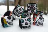Mexico and Central America Half Sugar Skull with Flowers Beaded Bracelet Cuff