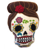 South America Hand Embroidered Wool Catrina Pillow from Peru