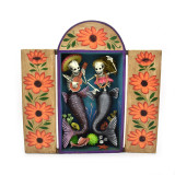 South America Skeleton Mermaid Couple Retablo from Peru