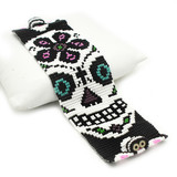 White Sugar Skull with Blue Eyes Beaded Bracelet