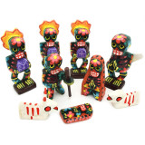 Mexico and Central America Dias De Los Muertos Carved and Painted Wood Nativity Set, Guatemala