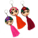 Mexico and Central America Frida Kahlo Embroidered Keychain with Tassel, from Guatemala