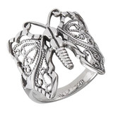 India and Asia Filagree Style Butterfly Ring - .925 Sterling Silver