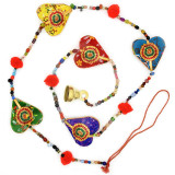 India and Asia Strand of Fabric Hearts with Bell, from India