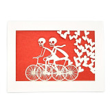 United States Laser Cut Eternal Love Notecards - Two Skeletons on Bikes with Hearts