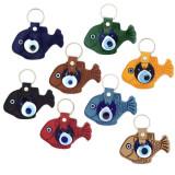 Turkey Leatherette Fish Evil Eye Key Chain