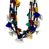 Africa Tuareg Fine Silver Chat Chat Necklace with Cobalt Blue Glass
