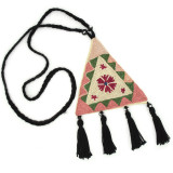 India and Asia Uzbekistan Embroidered Necklace by Bibi Hanum Pale Rose, Green, Magenta, Tan