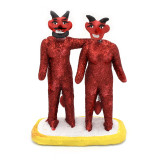 Mexico and Central America Red Sequined Clay Devil Couple, from Mexico