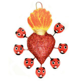 Mexico and Central America Hanging Flaming Red Sequined Heart with Devils, from Mexico