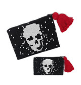 Mexico and Central America Skull Beaded Clutch Purse - Black with White Skull