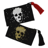Mexico and Central America Skull Beaded Coin Purse - Black with White Skull, Red Tassel