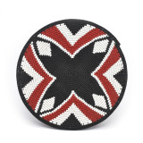 Africa Zulu Telephone Hardwire Basket - X Design, Red, White and Black