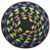 Africa Zulu Telephone Hardwire Basket - Black and Multi Color Triangle Design