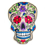 India and Asia Embroidered Sugar Skull Pillow with Rose Eyes