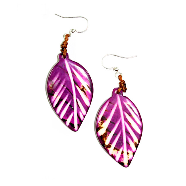 Leaf Tagua Earrings - Purple