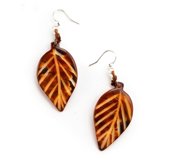 Leaf Tagua Earrings - Chestnut Brown