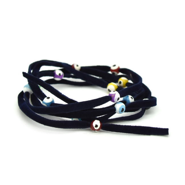 GOOD KARMA: Evil Eye Bead Wrap - Dark Blue with Multi Color Beads