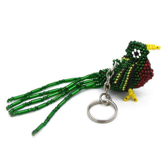 Beaded Quetzal Bird Keychain Hand Made In Guatemala