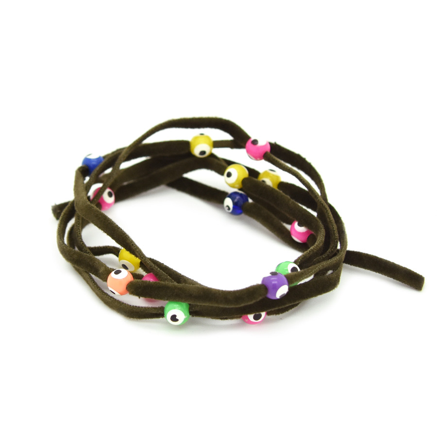 BALANCE: Evil Eye Bead Wrap - Dark Brown with Multi Color Beads