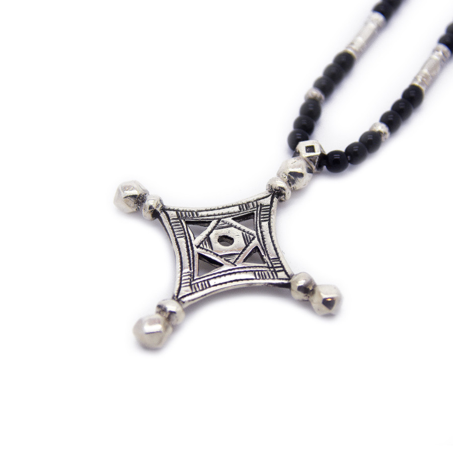Close Up of Tuareg Four Direction Old Style Cross Necklace