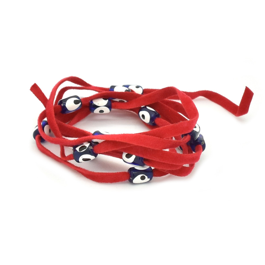 KABBALAH: Evil Eye Bead Wrap - Red with Red with Blue Long Beads