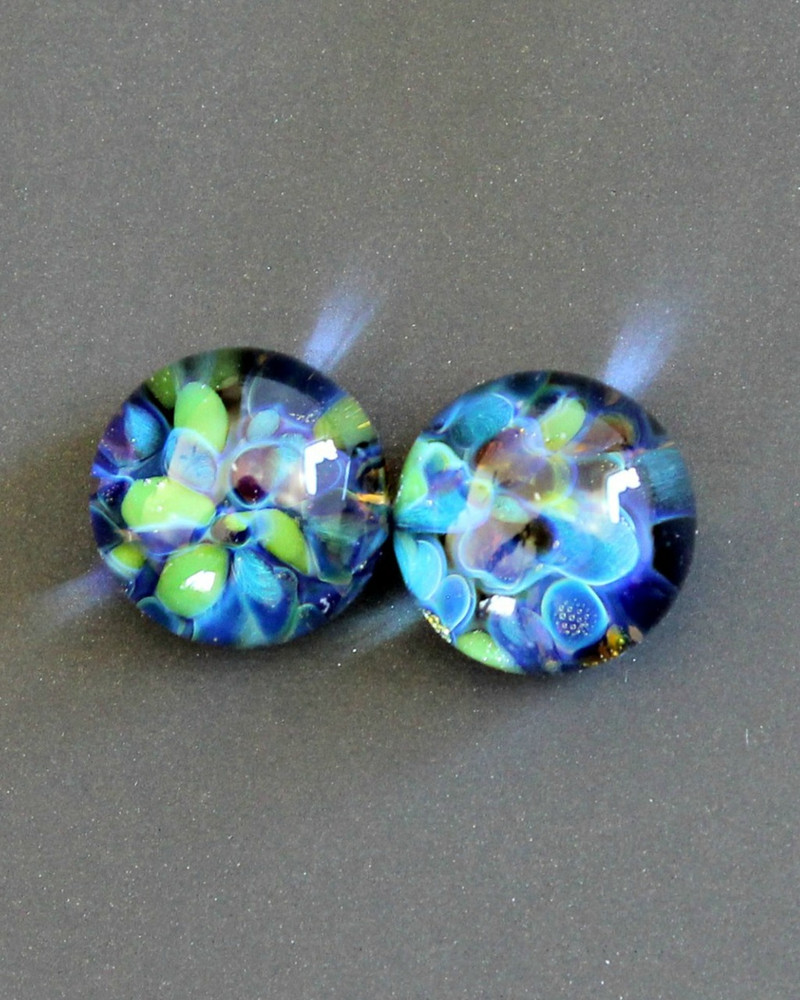 Impressions of garden colors in boro frit lampwork glass bead cabochons. These two little glass cabochons would make a great pair of earrings!