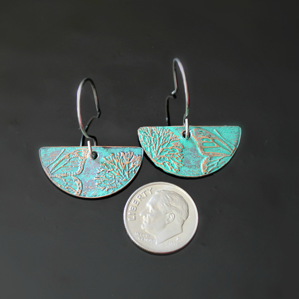 Teal Green Copper Earrings - Nature Design