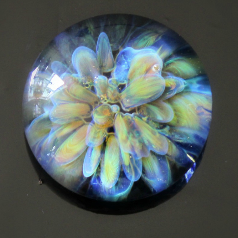 Grounded Earthy Flower Lampwork Glass Cabochon  Eathy colored glass flower bloom with wispy and dark blue surrounding it