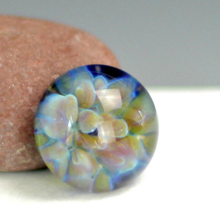 """Frit Implosion Cabochon - """"Desert Bloom""""  This one reminds me of something that bloom in the desert under a bold blue sky."""