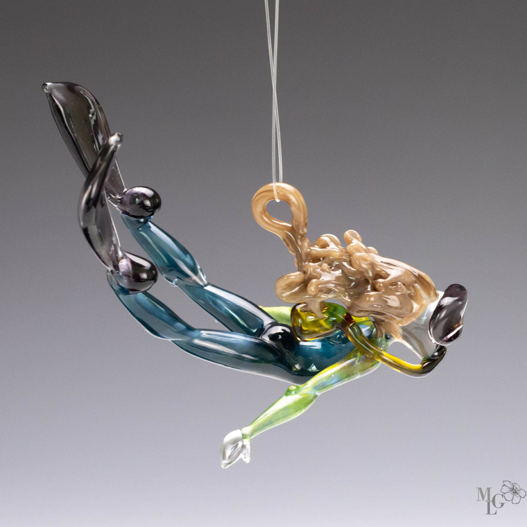 "Glass Scuba Girl Ornament - ""Sea Explorer""  This underwater adventure girl is full of style, motion and beauty."