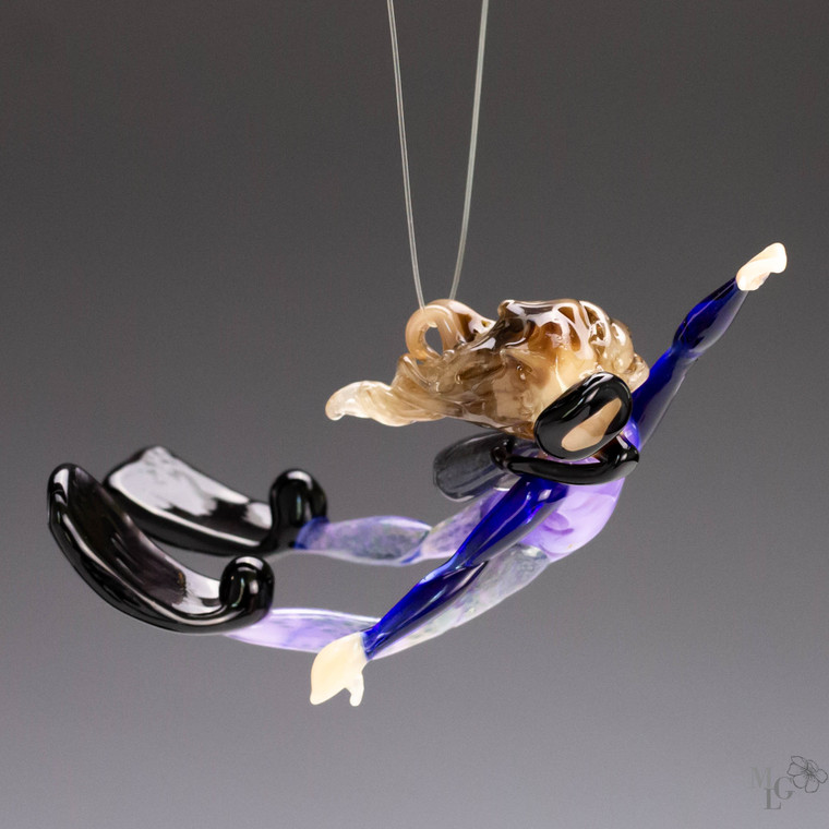 """Glass Scuba Girl Ornament - """"Second Look""""  Turning to get a second look at what is floating by underneath her  Her body is is in full swing around. Lots of motion in this little diver"""