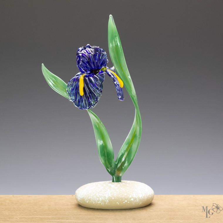 "Blue Glass Iris Flower Sculpture / ""Blowing In The Wind"""