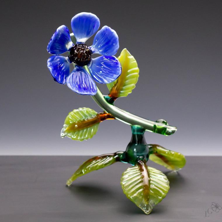 Peaceful blue glass wildflower sculpture for your home