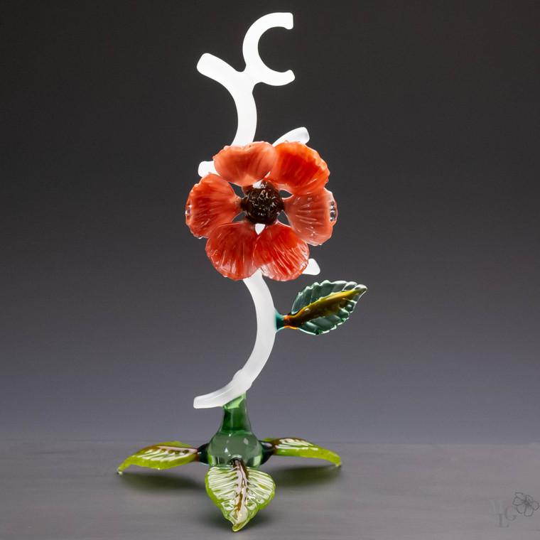 Lifted up flamework glass botanical glass sculpture