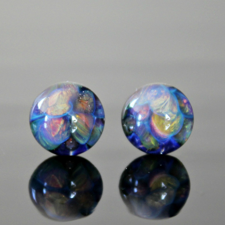 Abstract Glass Stud Earrings  Textured frit glass in shades of purple, blue, and bronze under a bubble of clear glass