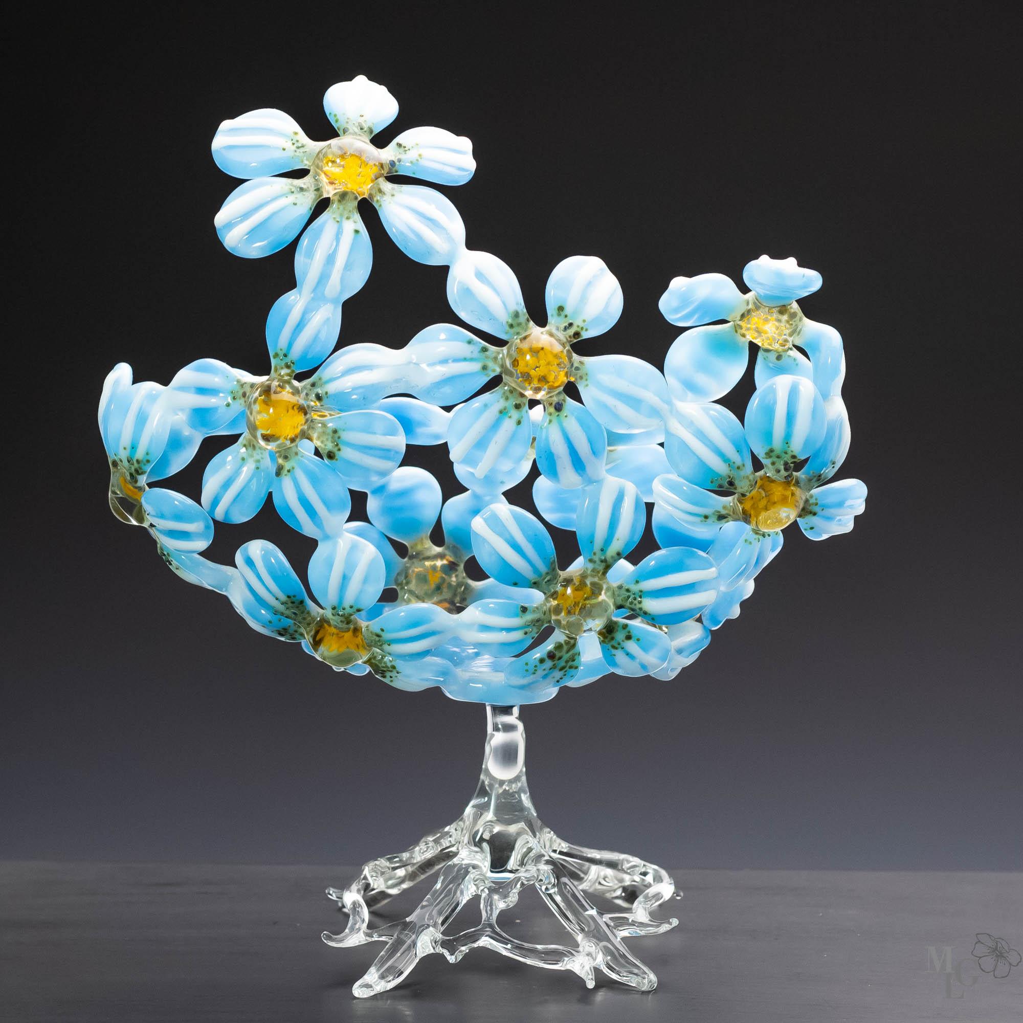 Blue Glass Daisy Sculpture - Contemporary Art Glass