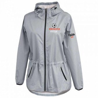 Women's Windbreaker - Silver with Logo