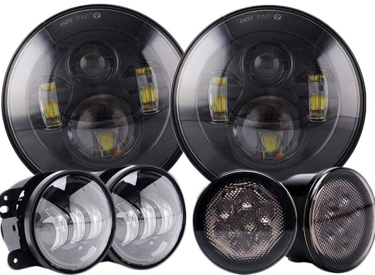 DOT 7/'/' inch LED Headlights Fog Light Combo Kit for Jeep Wrangler JK 2007-2018